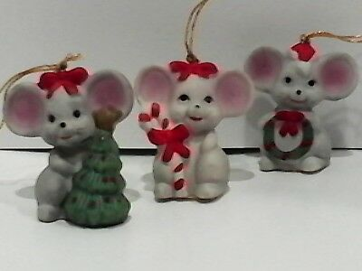 Christmas Ornaments 3 Mice Tree Wreath Cane
