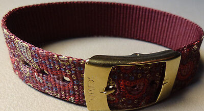 LONG Easy Pass Thru Ladies Timex Paisley ONE PIECE 16mm Watch Band Burgundy/Gold