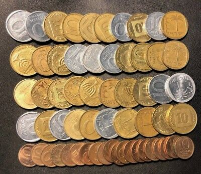 Vintage Israel Coin Lot - 10 AGOROT - 60 EXCELLENT COINS - Lot #D7