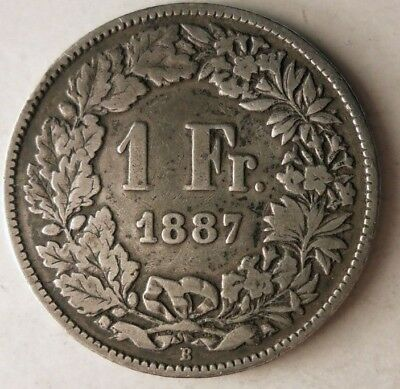 1887 SWITZERLAND FRANC - EXCELLENT Silver Coin - EARLY DATE RARE - Lot #D7