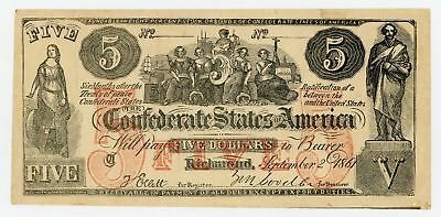 1861 CT-31 $5 The Confederate States of America (CTFT.) Note - CIVIL WAR Era
