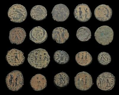 Lot of 20 nice quality uncleaned Roman coins, sand patinas (Includes rare one