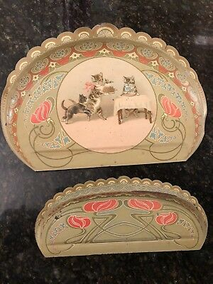 Rare Victorian Helena Maguire Antique Christmas Tabby Cat Kitten Tin Dust Tray
