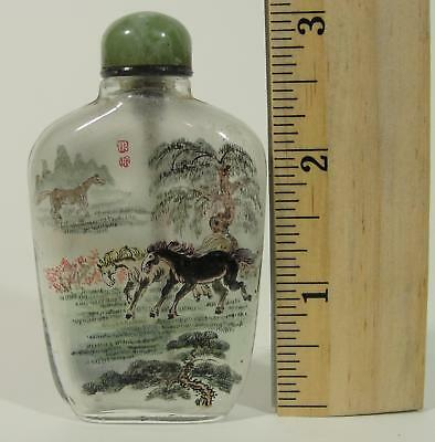 Antique 19thC Chinese Reversed Painted Landscape Horse Snuff Bottle, Jade Top