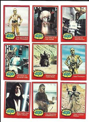 1977 Topps STAR WARS 2nd Series (Red) Trading Card Complete Set (66 Cards)