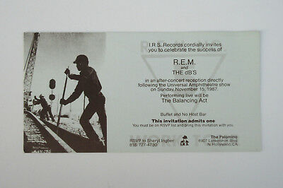 R.E.M. Document 1987 Aftershow Party INVITATION Palomino Club BALANCING ACT dB's