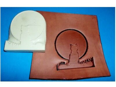 """NEW! Cat & Moon Leather Emboss Plate  2 1/4"""" x 3"""""""