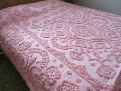 Vtg PINK COTTON CHENILLE BEDSPREAD 108 x 82 Plus Fringed Edges
