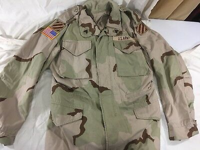 RARE Desert Storm M-65 Field jacket w/ Patches 3rd ID ABOVE US Flag, Army DCU