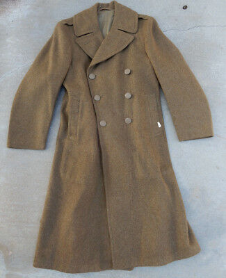 Original Wwii Us Army 1943 Enlisted Wool Overcoat, Size 36R, With Cutter Tags