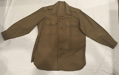 Original Wwii Officers Us Army Mustard Wool Shirt Size 16 X 31-1/2