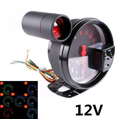 "5""Stepper Motor Car RPM 11000K Tachometer Gauge 7Color Backlight LED Shift Light"