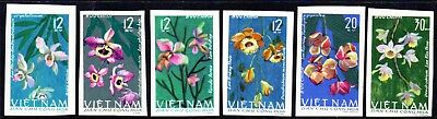 1965 NORTH VIETNAM ORCHIDS imperforate SGN422-427 mint no gum as issued