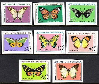 1976 NORTH VIETNAM BUTTERFLIES imperf SGN840-847 mint no gum as issued