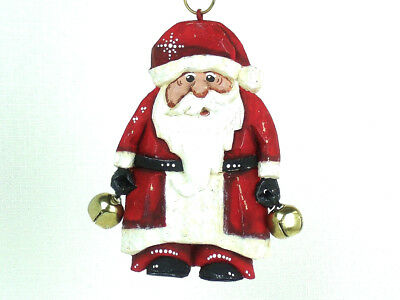 PETER ENGLER Signed HAND PAINTED SANTA CLAUS Bells CHRISTMAS ORNAMENT
