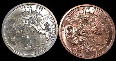 1 Oz Silver + 1 Oz Copper - Texas Commemorative Round .999 Fine Bu