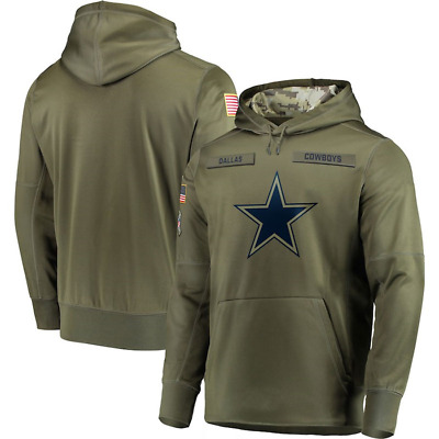 Men's DALLAS COWBOYS Olive Salute to Service Sideline Therma Hoodie 2018