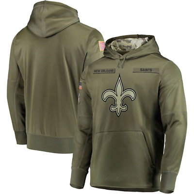 Men's ORLEANS SAINTS Olive Salute to Service Sideline Therma Hoodie 2018