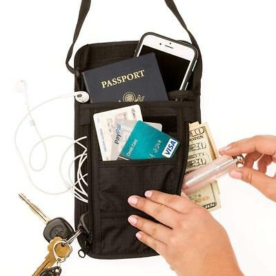 Travel Neck Wallet RFID Blocking 6 Compartment Neck Pouch Passport Holder Black