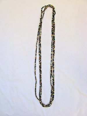 """Egyptian 3 Stringed Clay Beaded Handmade Necklace Multi-Color 17"""" - 18"""""""