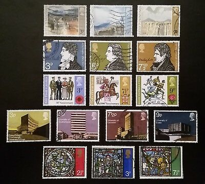 Complete British commemorative postage stamp set issues in 1971 (used)