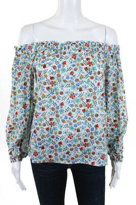 7f0f37e78d470 Liberty For J Crew White Blue Red Floral Print Off The Shoulder Top Size 00