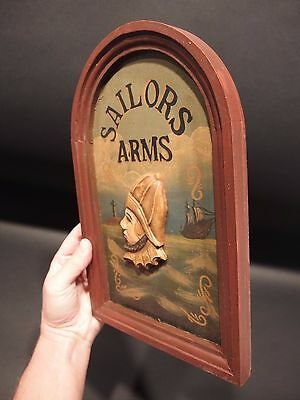 Vintage Antique Style Wood English Pub Sailor Arms Trade Sign