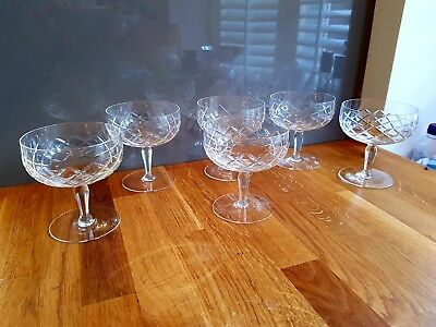 6 vintage, cut glass crystal champagne coupes, saucers, sorbet glasses
