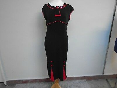 Brand New With Tags Ruiyige Black & Red Midi Stretch Xmas Cocktail Dress Sz L