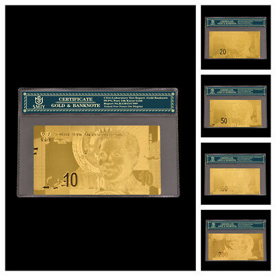 5Pcs/Set South African Collectible Gold Banknote 10/20/50/100/200 Rand Money W/C
