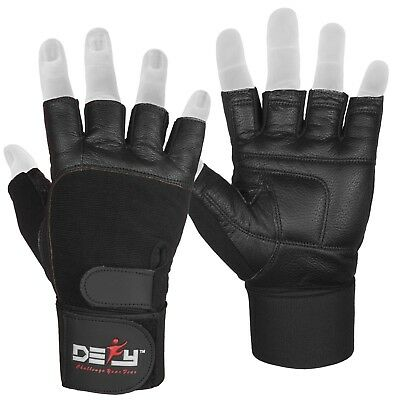 DEFY Real Leather Padded Gym Gloves Fitness Weightlifting Training Long Wrist