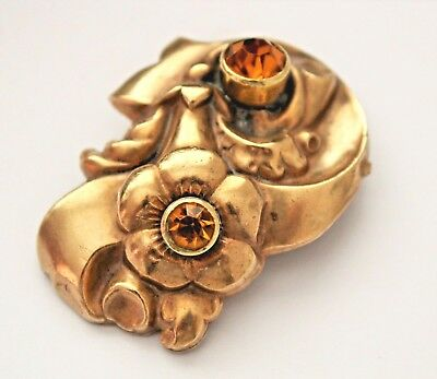Antique Victorian Edwardian Pinchbeck ? Dress Clip With Citrine Coloured Stones.