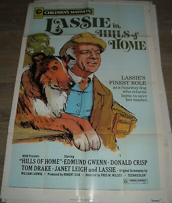 1972 LASSIE in HILLS of HOME RE RELEASE 1 SHEET MOVIE POSTER JANET LEIGH & DOG
