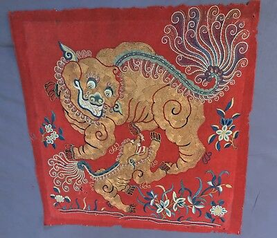 Antique Chinese embroidery with gold thread on wool, Qing Dynasty embroidered