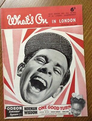 """Vintage magazine, """" What's on in London """" 1954. Norman Wisdom cover."""