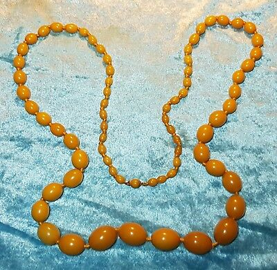 "Phenolic Large 38"" Art Deco Butterscotch Amber Celluloid Bakelite Necklace 1930S"