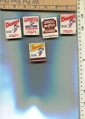 5 dif. Shoney's Big Boy books of matches new old stock see scans