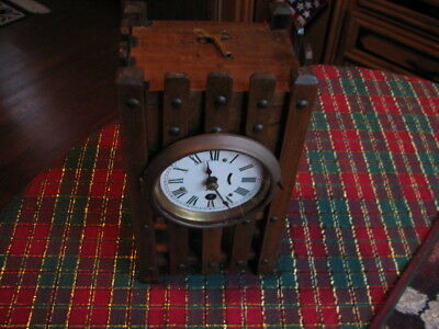 Antique Arts & Crafts Mission Wood Mantle 1 Day Clock  WORKING  with KEY