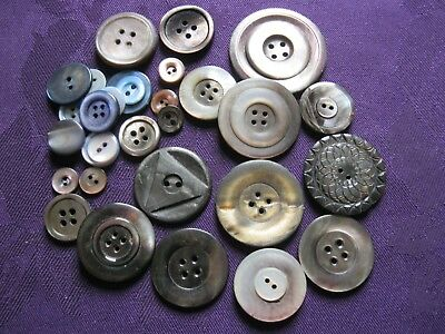 job lot of vintage mother of pearl buttons - grey shades various sizes