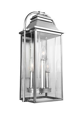 """Feiss OL13200PBS Wellsworth 3-Light 18"""" Tall Outdoor Wall Sconce"""