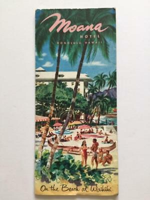 Vintage HAWAII 1950s Brochure Promoting the Moana Hotel in Hononlulu Hawaii