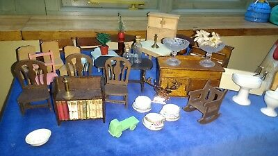 Collection Vintage Antique 1930s Dolls' House Furniture Bathroom Piano Glass