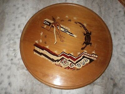 """Aboriginal   wooden plate from Australia measuring 14"""" """"a few marks"""""""