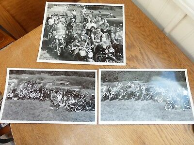 3 Collectible photos 1950s motorcycle gang men women Vintage Indian Scout