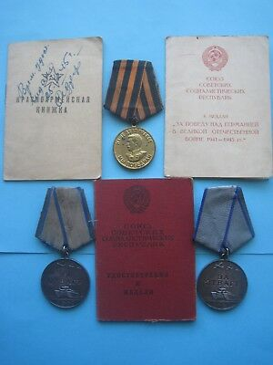 Original Russian USSR DOCUMENTED SET w/ 2 Bravery and Germany Medal, Badge, WW2