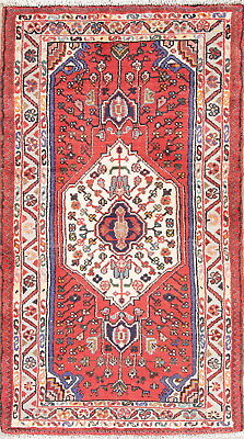 Hand-Knotted Geometric Red 3x5 Hamedan Persian Oriental Area Rug Wool Foyer Size
