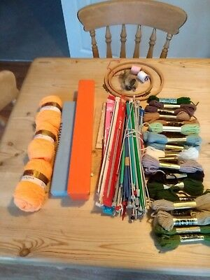 Collection Of Knitting Needles/wool/needle Boxes/emb Hoops Etc