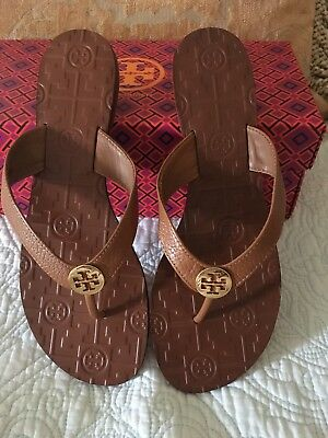 c7d6cc4e117 TORY BURCH THORA Flip Flop Thong Sandals Royal Tan Leather Gold Size 9 New