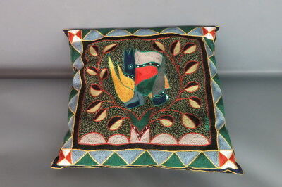 Kaross South African  Embroidered Throw Pillow