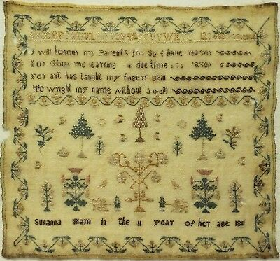 Early 19Th Century Motif & Verse Sampler By Susanna Ham Aged 11 - 1811